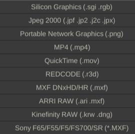 Media Formats List